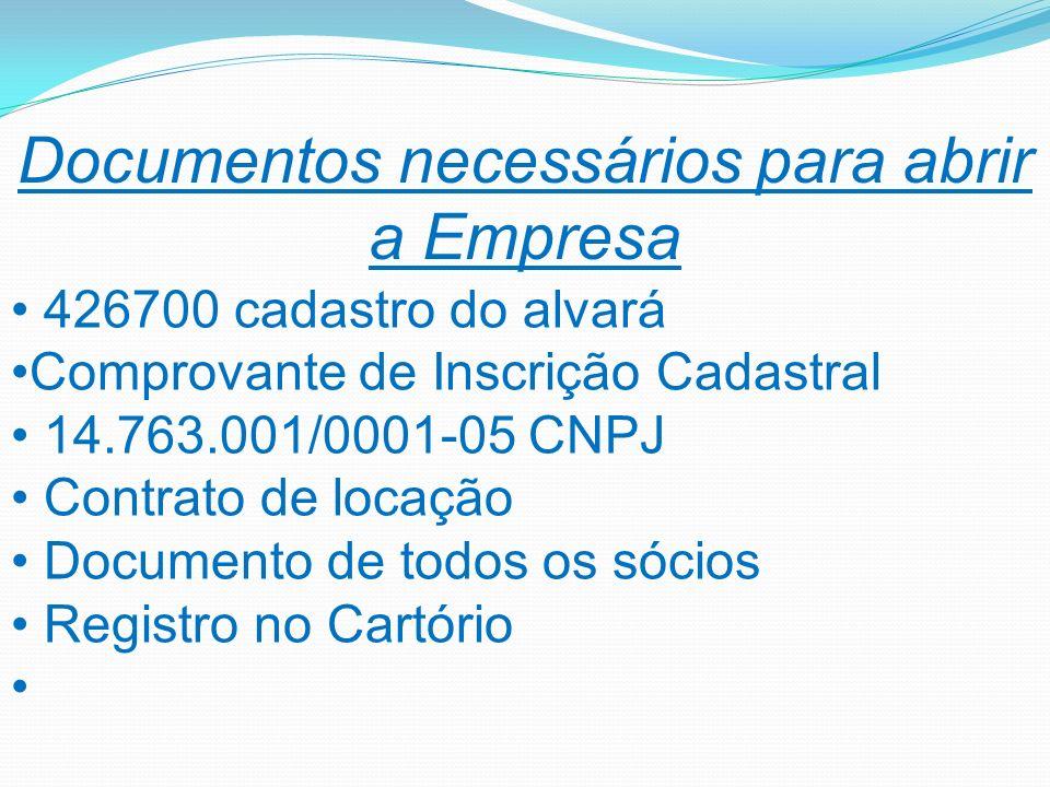 Documentos necessários para abrir a Empresa 426700 cadastro do alvará Comprovante de Inscrição Cadastral 14.763.001/0001-05 CNPJ Contrato de locação D
