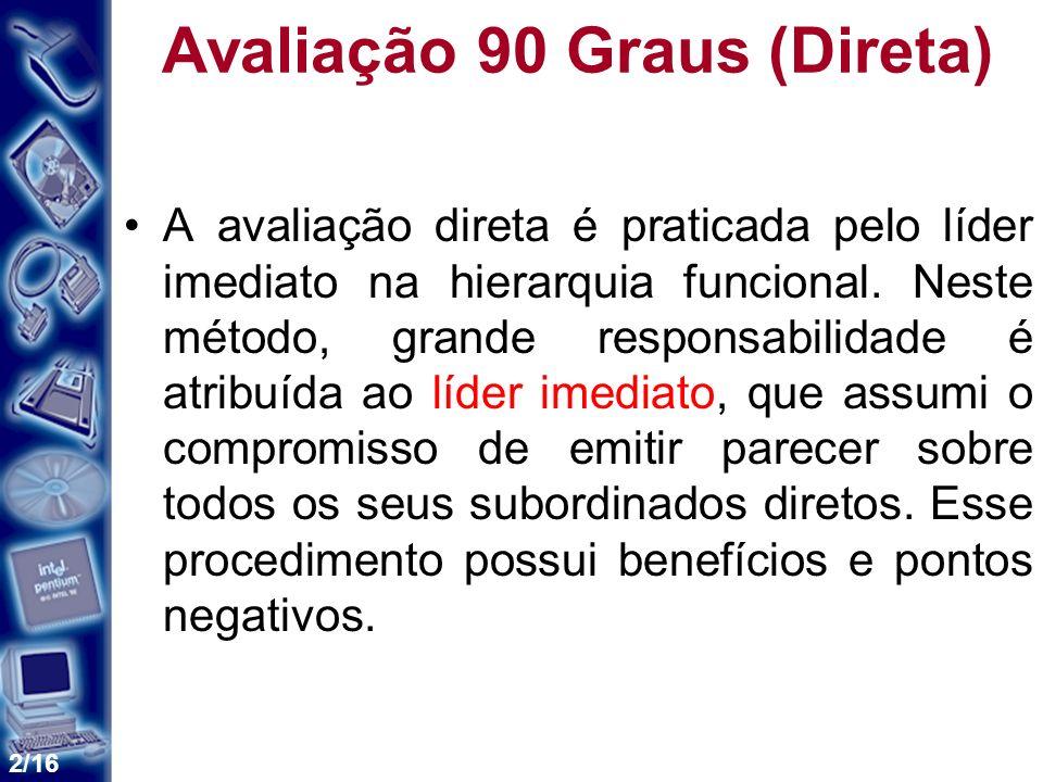 2/16 Avaliação 90 Graus (Direta) A avaliação direta é praticada pelo líder imediato na hierarquia funcional.