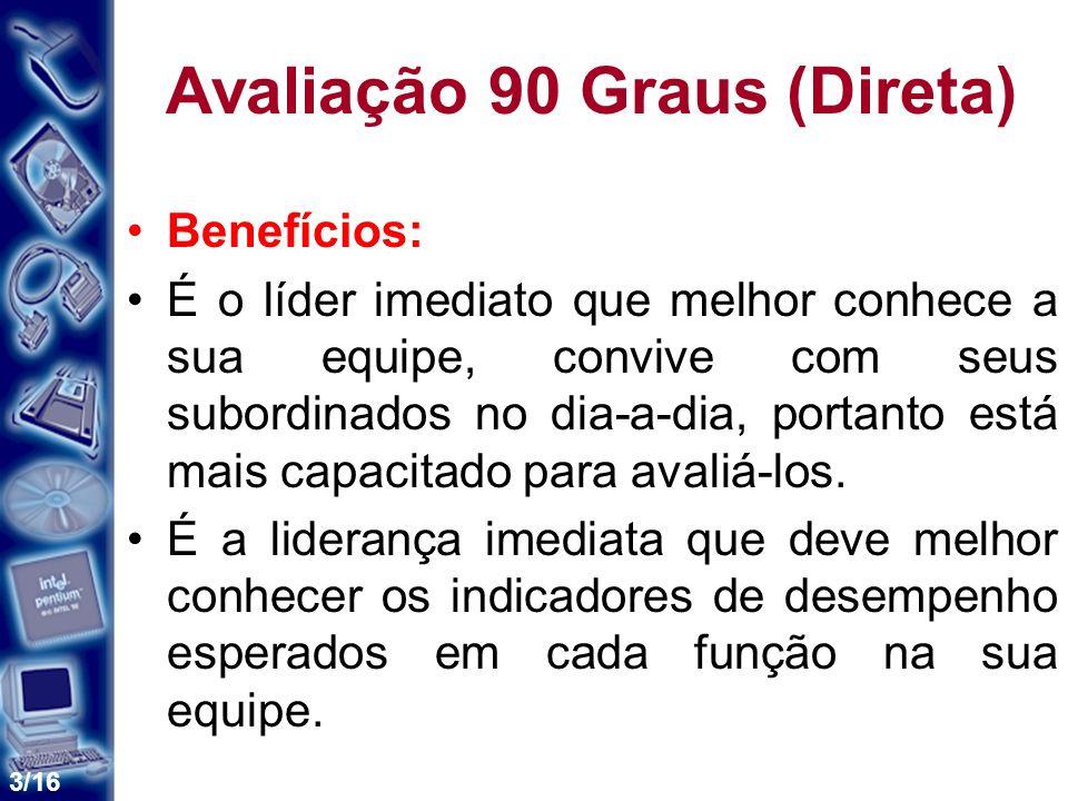 3/16 Avaliação 90 Graus (Direta) Benefícios: É o líder imediato que melhor conhece a sua equipe, convive com seus subordinados no dia-a-dia, portanto