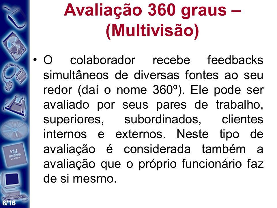 6/16 Avaliação 360 graus – (Multivisão) O colaborador recebe feedbacks simultâneos de diversas fontes ao seu redor (daí o nome 360º). Ele pode ser ava
