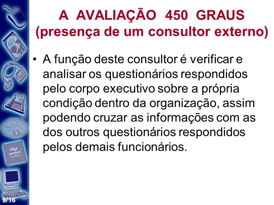 9/16 A AVALIAÇÃO 450 GRAUS (presença de um consultor externo) A função deste consultor é verificar e analisar os questionários respondidos pelo corpo