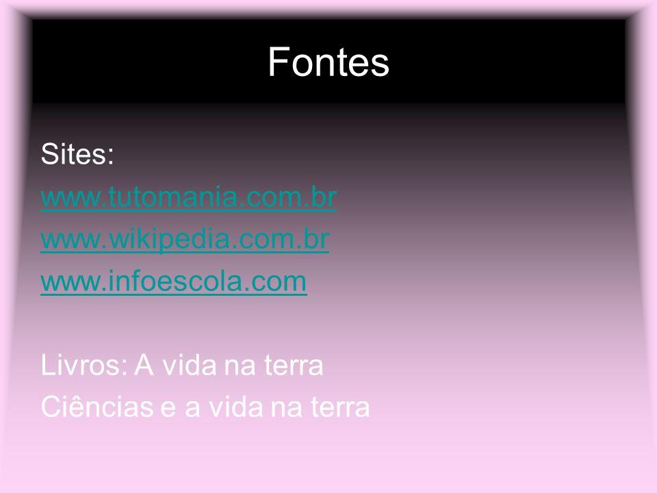 Fontes Sites: www.tutomania.com.br www.wikipedia.com.br www.infoescola.com Livros: A vida na terra Ciências e a vida na terra