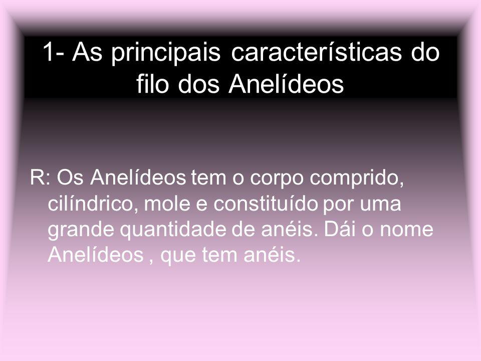 1- As principais características do filo dos Anelídeos R: Os Anelídeos tem o corpo comprido, cilíndrico, mole e constituído por uma grande quantidade