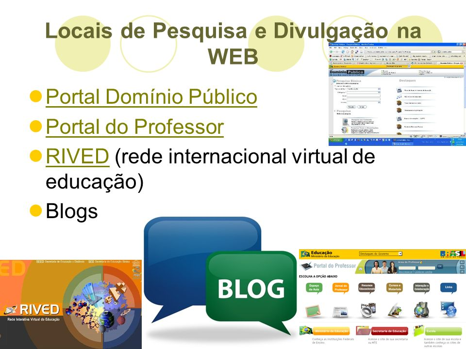 Locais de Pesquisa e Divulgação na WEB Portal Domínio Público Portal do Professor RIVED (rede internacional virtual de educação) RIVED Blogs