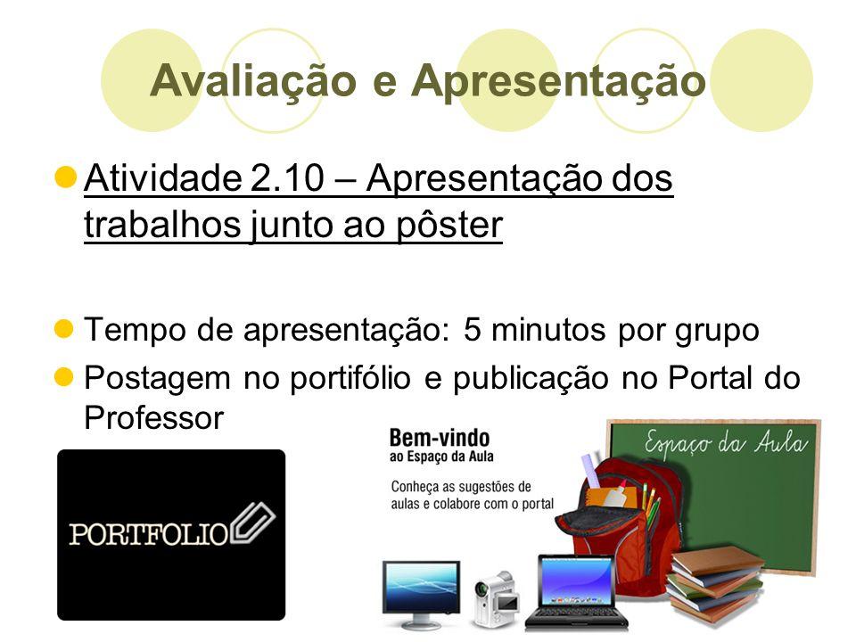 Atividade 2.10 – Apresentação dos trabalhos junto ao pôster Tempo de apresentação: 5 minutos por grupo Postagem no portifólio e publicação no Portal d