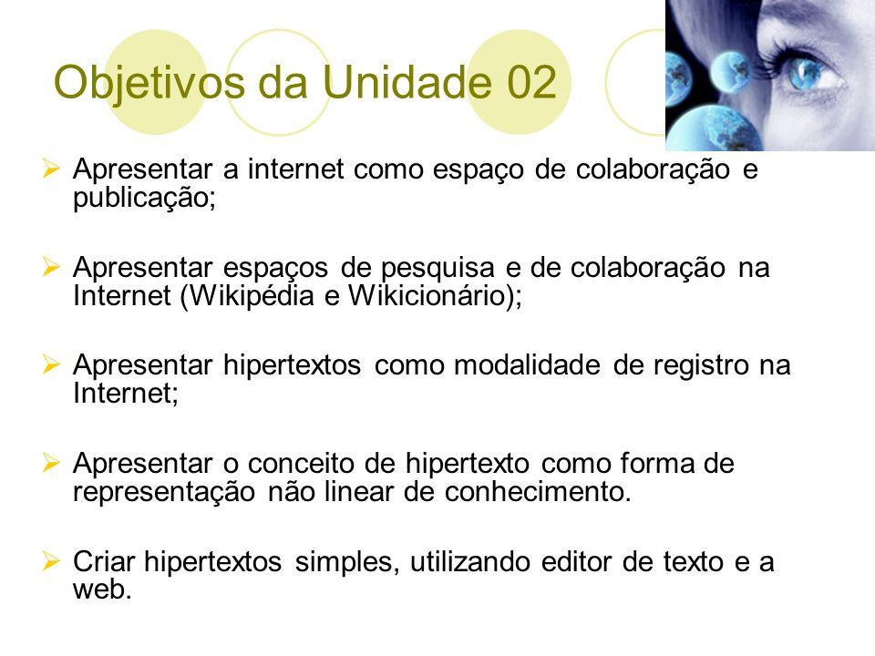 Objetivos da Unidade 02 Apresentar a internet como espaço de colaboração e publicação; Apresentar espaços de pesquisa e de colaboração na Internet (Wi