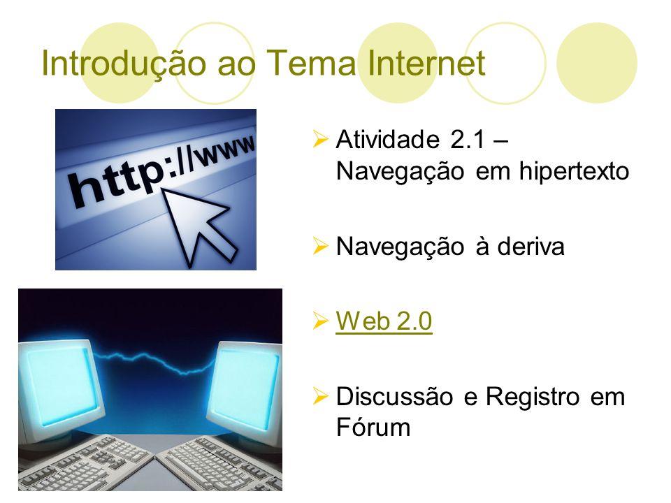 Introdução ao Tema Internet Atividade 2.1 – Navegação em hipertexto Navegação à deriva Web 2.0 Discussão e Registro em Fórum
