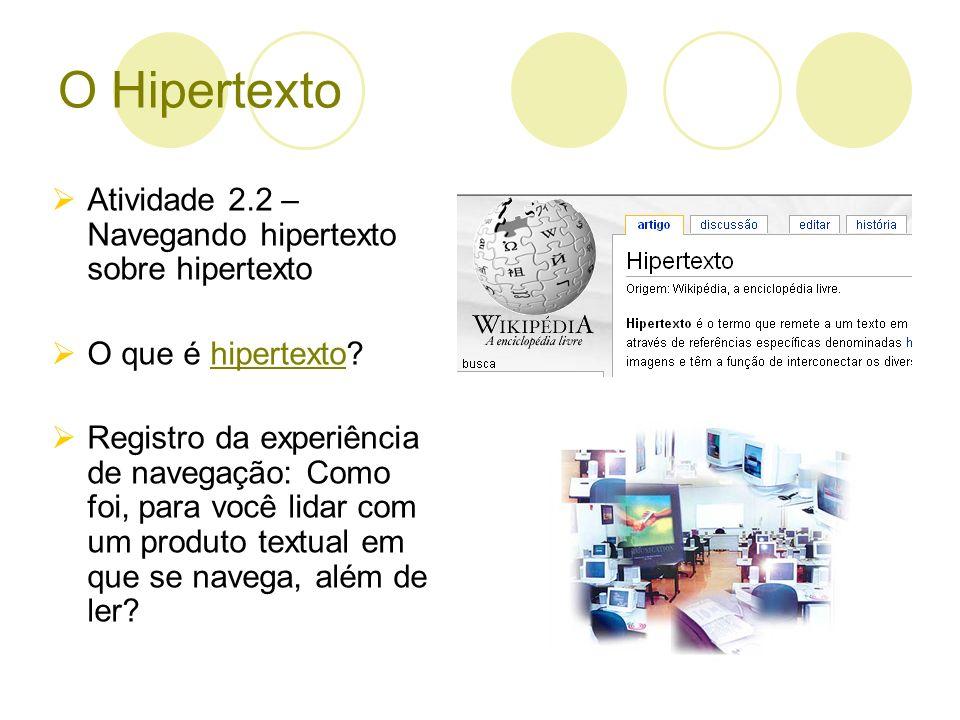 O Hipertexto Atividade 2.2 – Navegando hipertexto sobre hipertexto O que é hipertexto?hipertexto Registro da experiência de navegação: Como foi, para