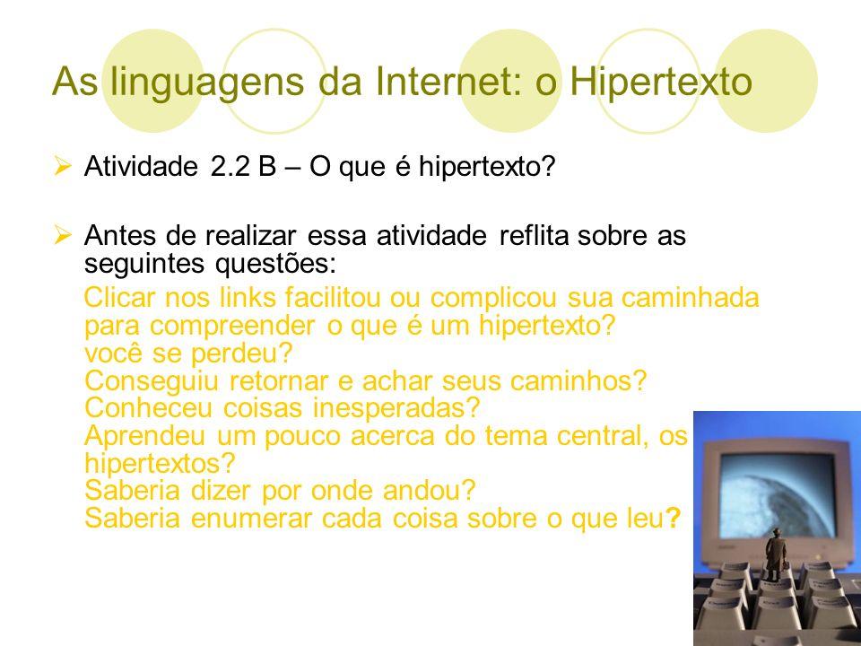As linguagens da Internet: o Hipertexto Atividade 2.3 – Conhecendo e comentando trabalhos de colegas Produzir texto curto Escolher três trabalhos interessantes para você e comentar o que mais chamou sua atenção Observar se o trabalho do colega for muito extenso