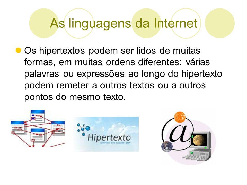 As linguagens da Internet Os hipertextos podem ser lidos de muitas formas, em muitas ordens diferentes: várias palavras ou expressões ao longo do hipe