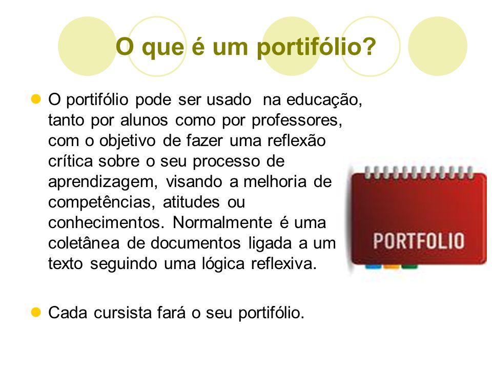 O que é um portifólio? O portifólio pode ser usado na educação, tanto por alunos como por professores, com o objetivo de fazer uma reflexão crítica so