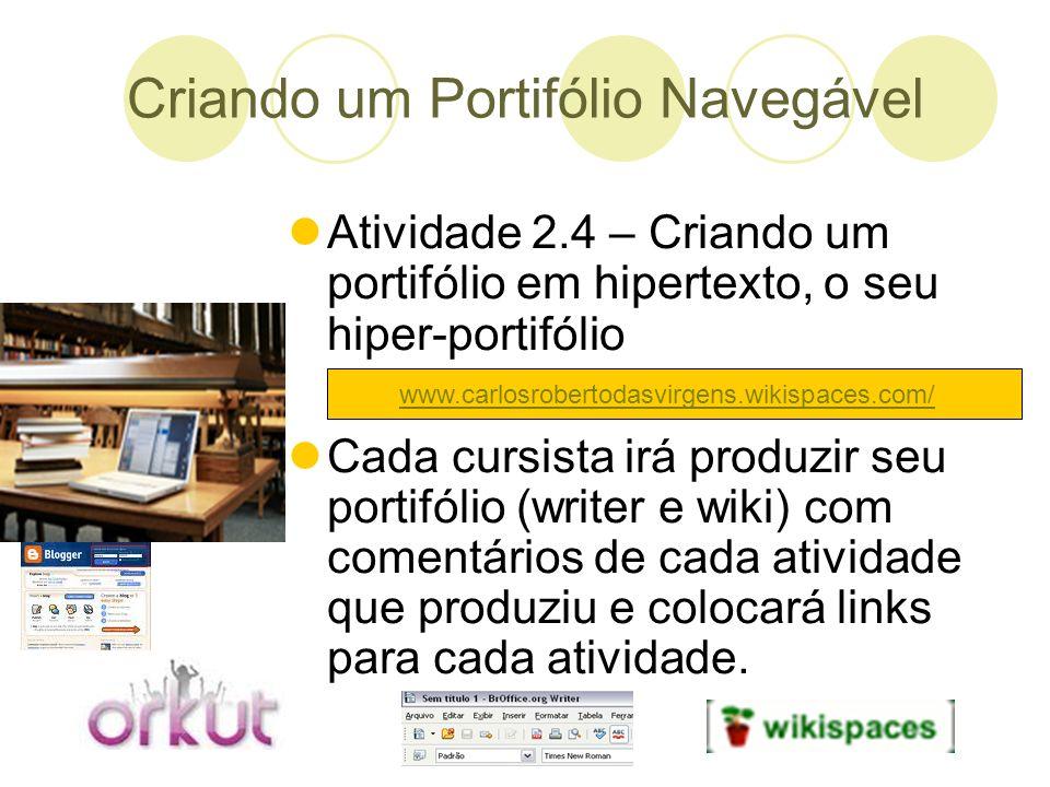 Criando um Portifólio Navegável Atividade 2.4 – Criando um portifólio em hipertexto, o seu hiper-portifólio Cada cursista irá produzir seu portifólio