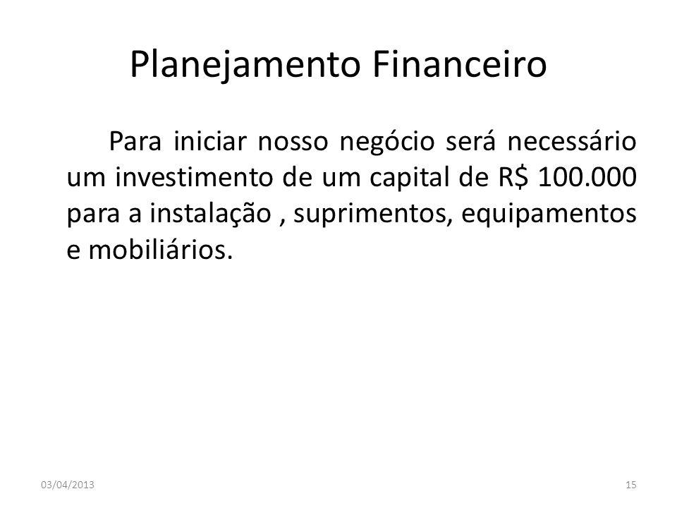 Planejamento Financeiro Para iniciar nosso negócio será necessário um investimento de um capital de R$ 100.000 para a instalação, suprimentos, equipam