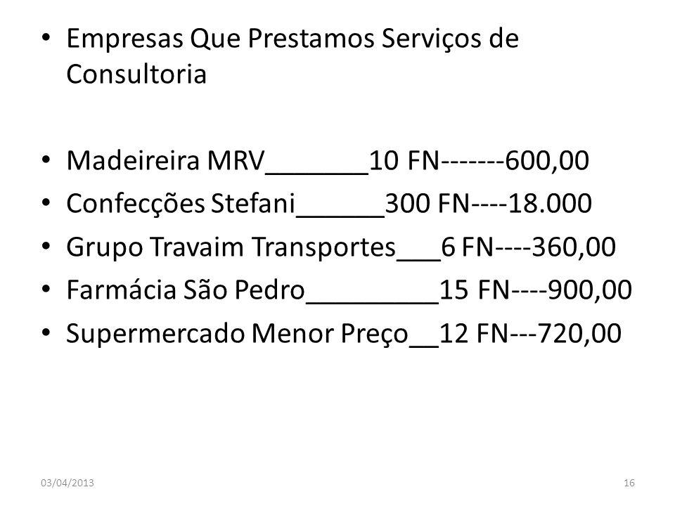 Empresas Que Prestamos Serviços de Consultoria Madeireira MRV_______10 FN-------600,00 Confecções Stefani______300 FN----18.000 Grupo Travaim Transpor