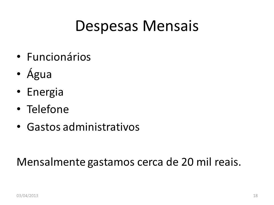 Despesas Mensais Funcionários Água Energia Telefone Gastos administrativos Mensalmente gastamos cerca de 20 mil reais. 03/04/201318