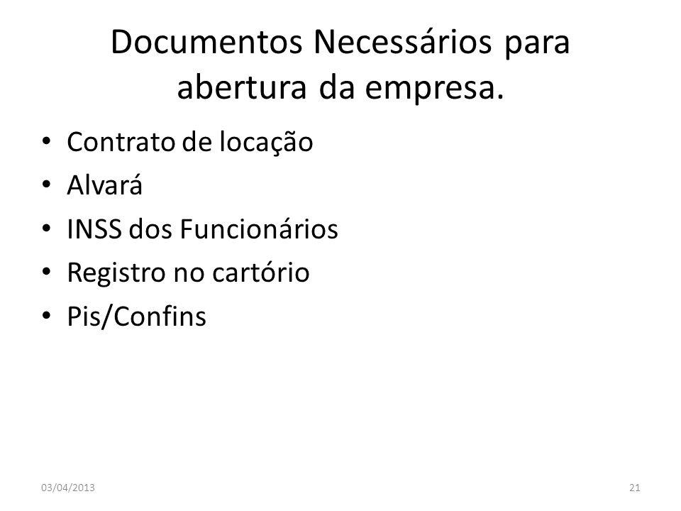Documentos Necessários para abertura da empresa. Contrato de locação Alvará INSS dos Funcionários Registro no cartório Pis/Confins 03/04/201321