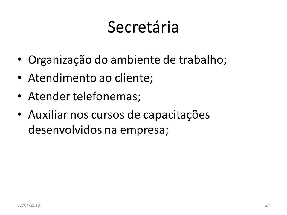 Secretária Organização do ambiente de trabalho; Atendimento ao cliente; Atender telefonemas; Auxiliar nos cursos de capacitações desenvolvidos na empr