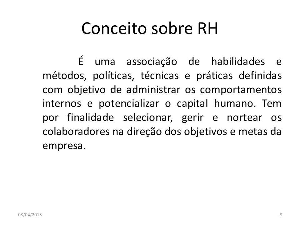 Conceito sobre RH É uma associação de habilidades e métodos, políticas, técnicas e práticas definidas com objetivo de administrar os comportamentos in