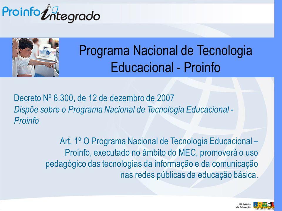 Art. 1º O Programa Nacional de Tecnologia Educacional – Proinfo, executado no âmbito do MEC, promoverá o uso pedagógico das tecnologias da informação