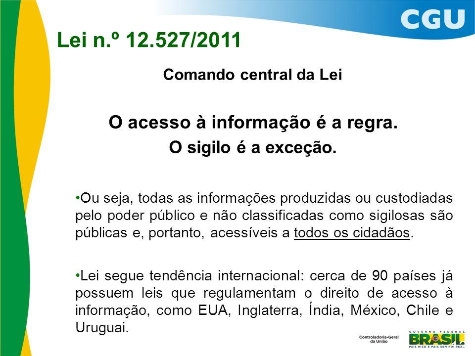 Comando central da Lei O acesso à informação é a regra.