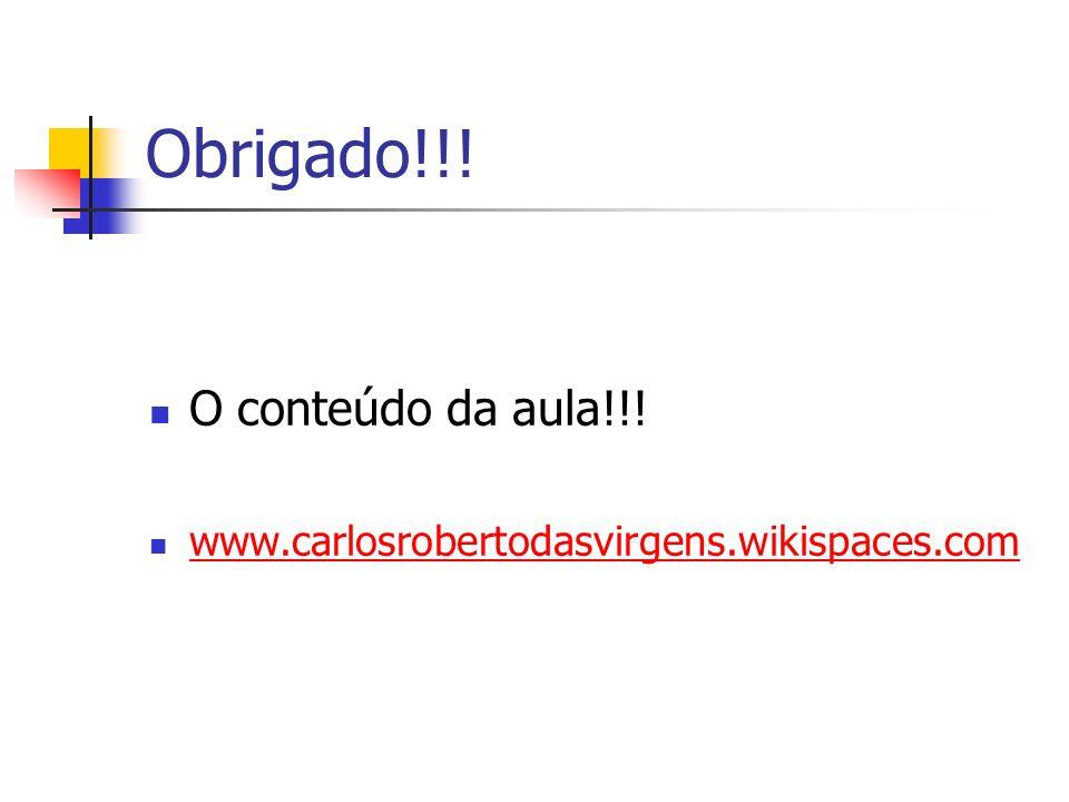 Obrigado!!! O conteúdo da aula!!! www.carlosrobertodasvirgens.wikispaces.com
