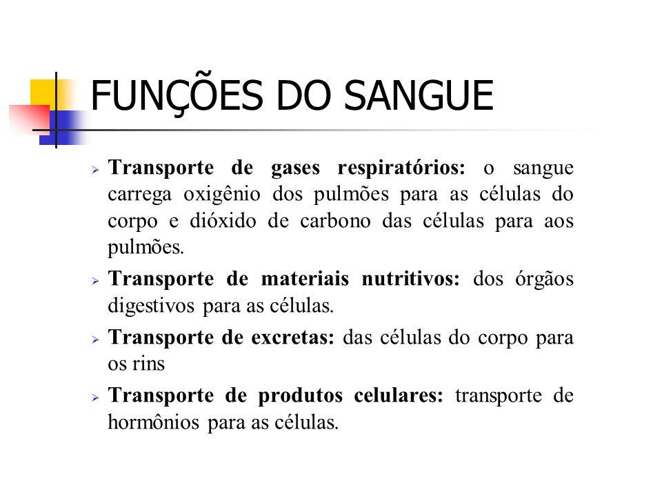 FUNÇÕES DO SANGUE Transporte de gases respiratórios: o sangue carrega oxigênio dos pulmões para as células do corpo e dióxido de carbono das células p