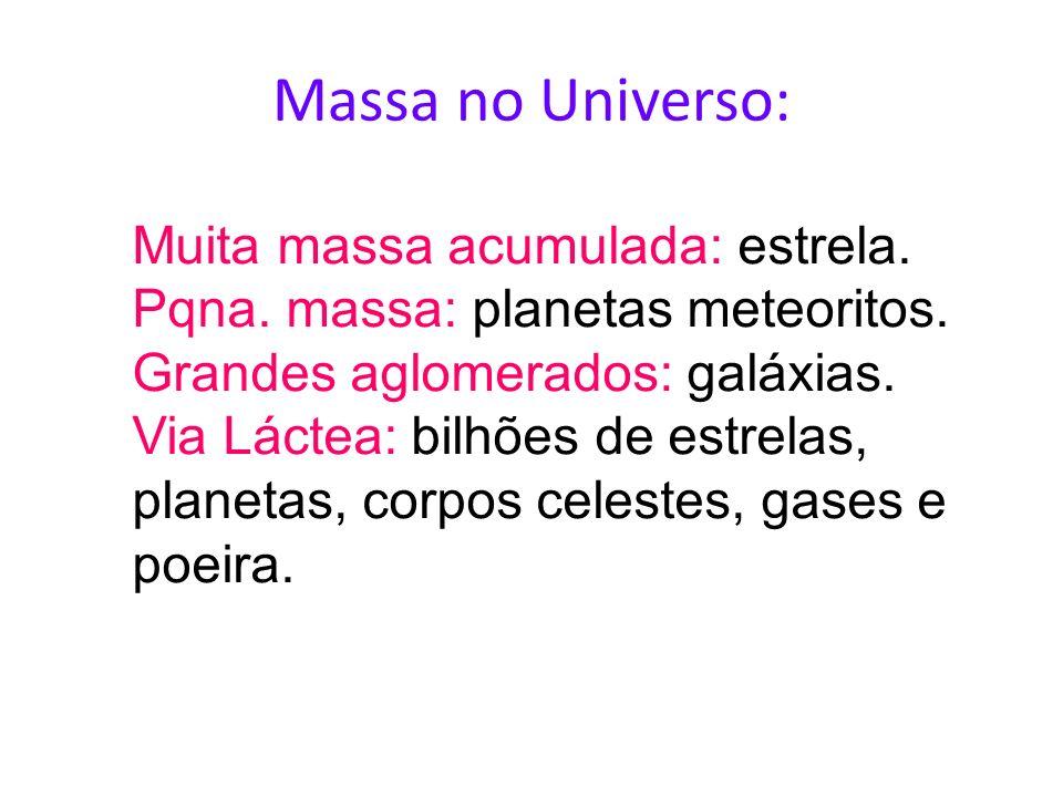 Massa no Universo: Muita massa acumulada: estrela. Pqna. massa: planetas meteoritos. Grandes aglomerados: galáxias. Via Láctea: bilhões de estrelas, p