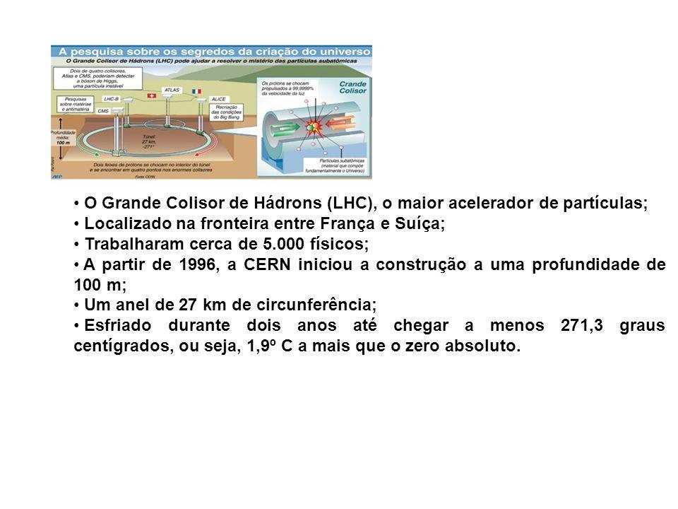 O Grande Colisor de Hádrons (LHC), o maior acelerador de partículas; Localizado na fronteira entre França e Suíça; Trabalharam cerca de 5.000 físicos;