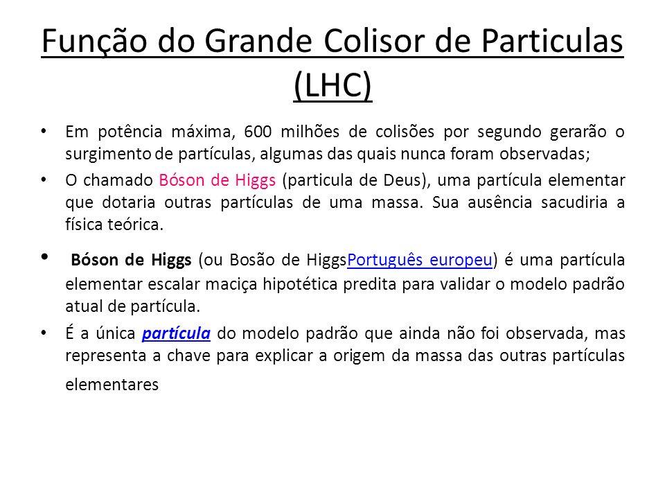 Função do Grande Colisor de Particulas (LHC) Em potência máxima, 600 milhões de colisões por segundo gerarão o surgimento de partículas, algumas das q