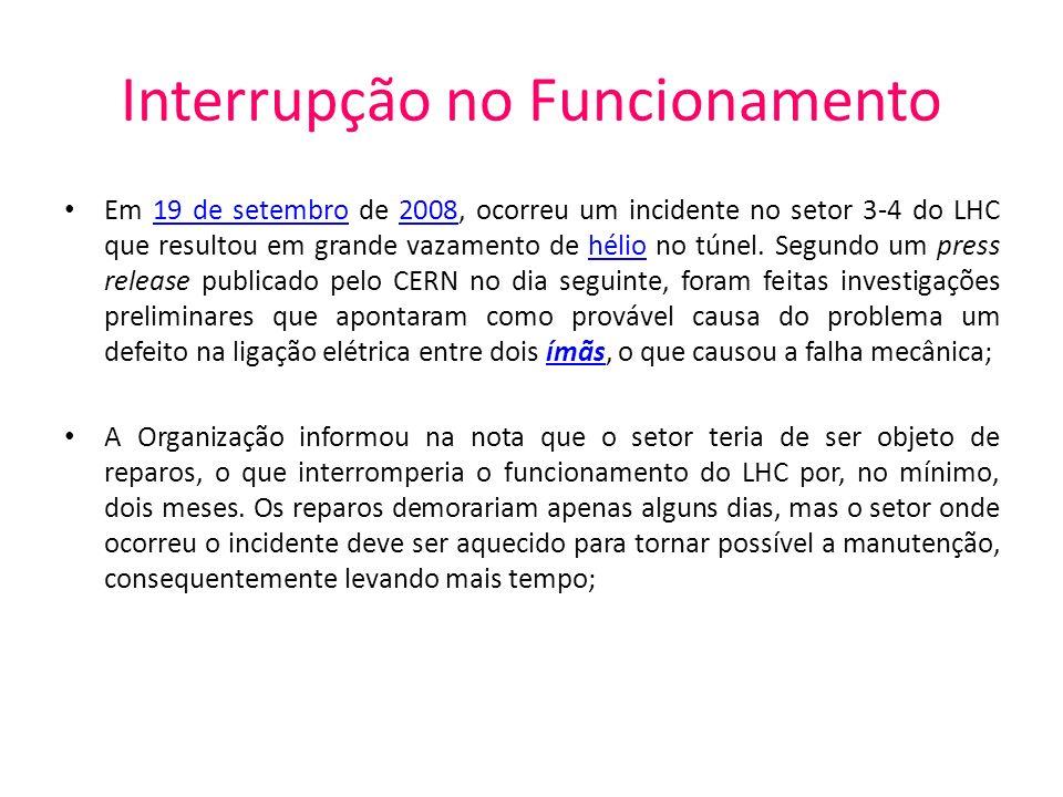 Interrupção no Funcionamento Em 19 de setembro de 2008, ocorreu um incidente no setor 3-4 do LHC que resultou em grande vazamento de hélio no túnel. S