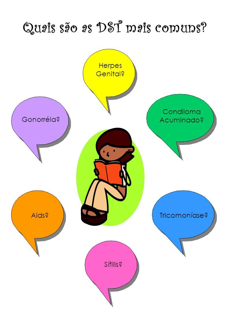 Quais são as DST mais comuns? Herpes Genital? Condiloma Acuminado? Gonorréia? Aids? Sífilis? Tricomoníase?