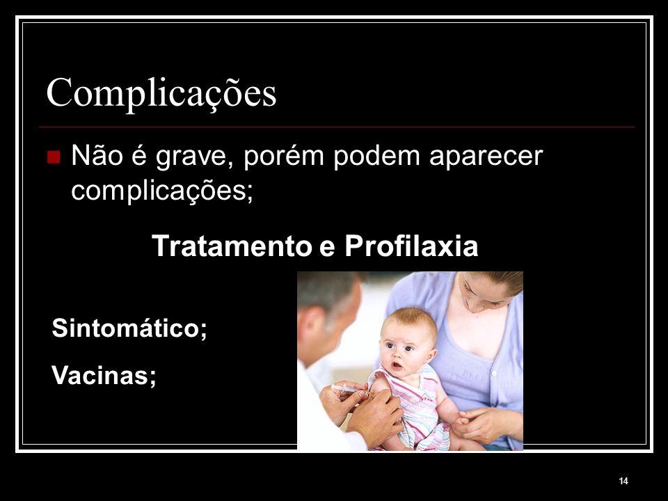 14 Complicações Não é grave, porém podem aparecer complicações; Tratamento e Profilaxia Sintomático; Vacinas;