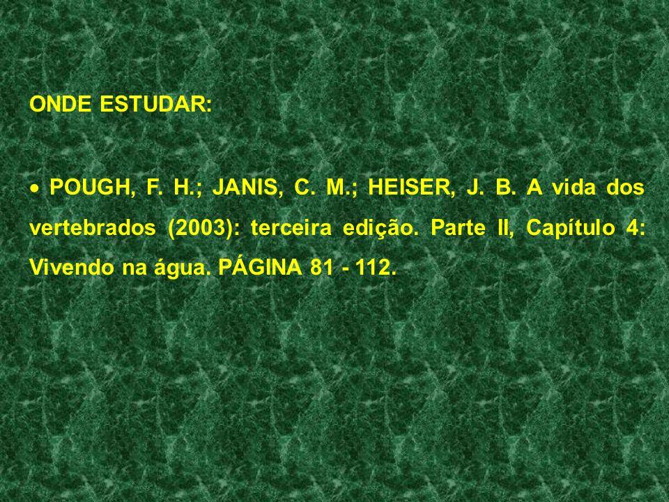 ONDE ESTUDAR: POUGH, F. H.; JANIS, C. M.; HEISER, J. B. A vida dos vertebrados (2003): terceira edição. Parte II, Capítulo 4: Vivendo na água. PÁGINA