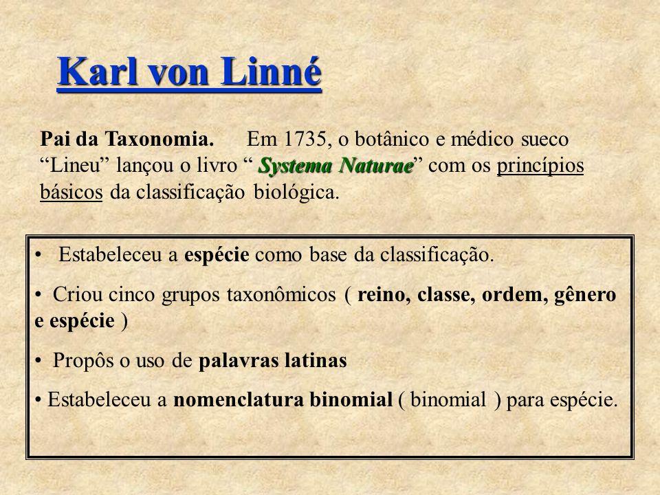 Karl von Linné Systema Naturae Pai da Taxonomia. Em 1735, o botânico e médico sueco Lineu lançou o livro Systema Naturae com os princípios básicos da