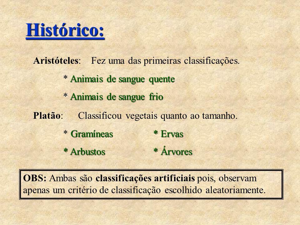 Histórico: Aristóteles: Fez uma das primeiras classificações. Animais de sangue quente * Animais de sangue quente * Animais de sangue frio Platão: Cla
