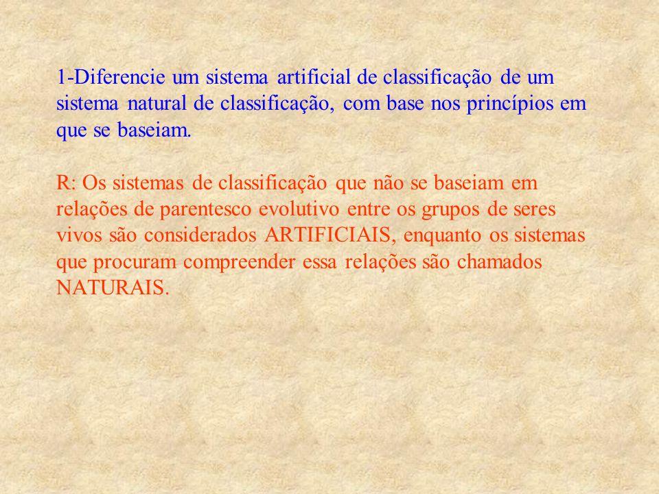 1-Diferencie um sistema artificial de classificação de um sistema natural de classificação, com base nos princípios em que se baseiam. R: Os sistemas