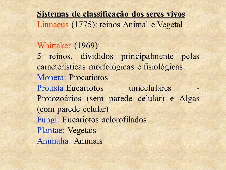 Sistemas de classificação dos seres vivos Linnaeus (1775): reinos Animal e Vegetal Whittaker (1969): 5 reinos, divididos principalmente pelas caracter