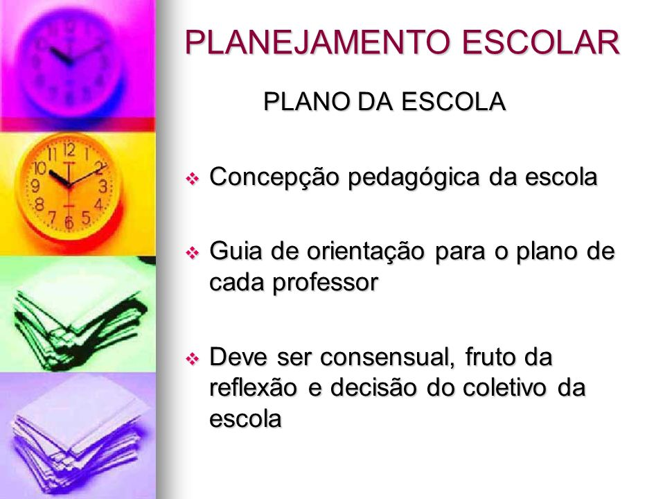 PLANEJAMENTO ESCOLAR PLANO DA ESCOLA PLANO DA ESCOLA Concepção pedagógica da escola Concepção pedagógica da escola Guia de orientação para o plano de