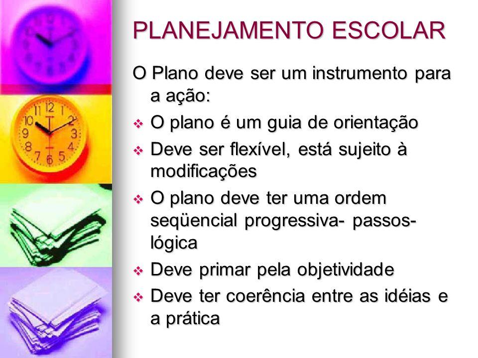 PLANEJAMENTO ESCOLAR O Plano deve ser um instrumento para a ação: O plano é um guia de orientação O plano é um guia de orientação Deve ser flexível, e