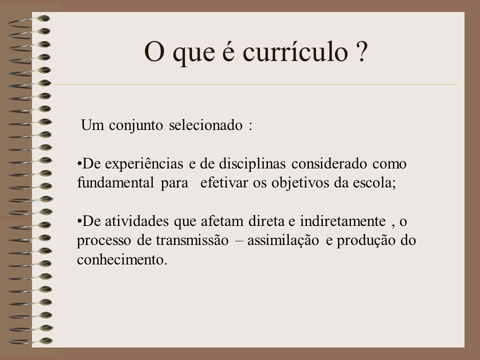 O que é currículo ? Um conjunto selecionado : De experiências e de disciplinas considerado como fundamental para efetivar os objetivos da escola;De ex