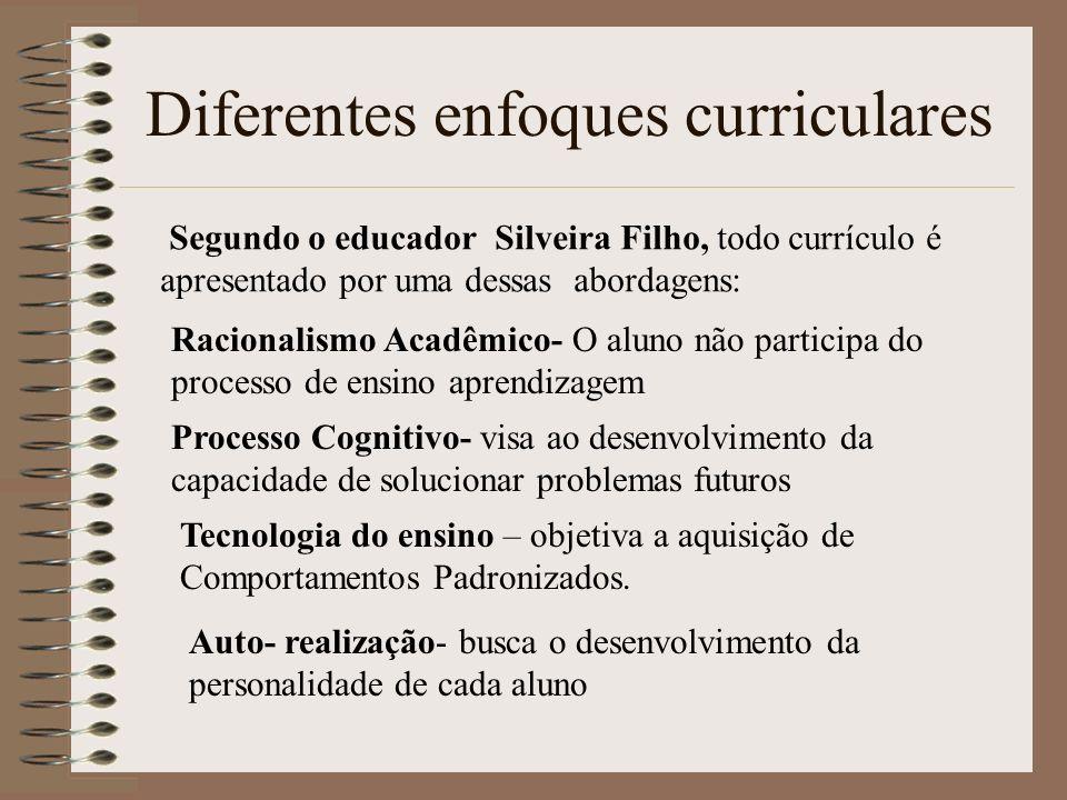 Diferentes enfoques curriculares Reconstrução Social - focado na reconstrução social preocupa-se com o desenvolvimento do aluno para vida em sociedade.