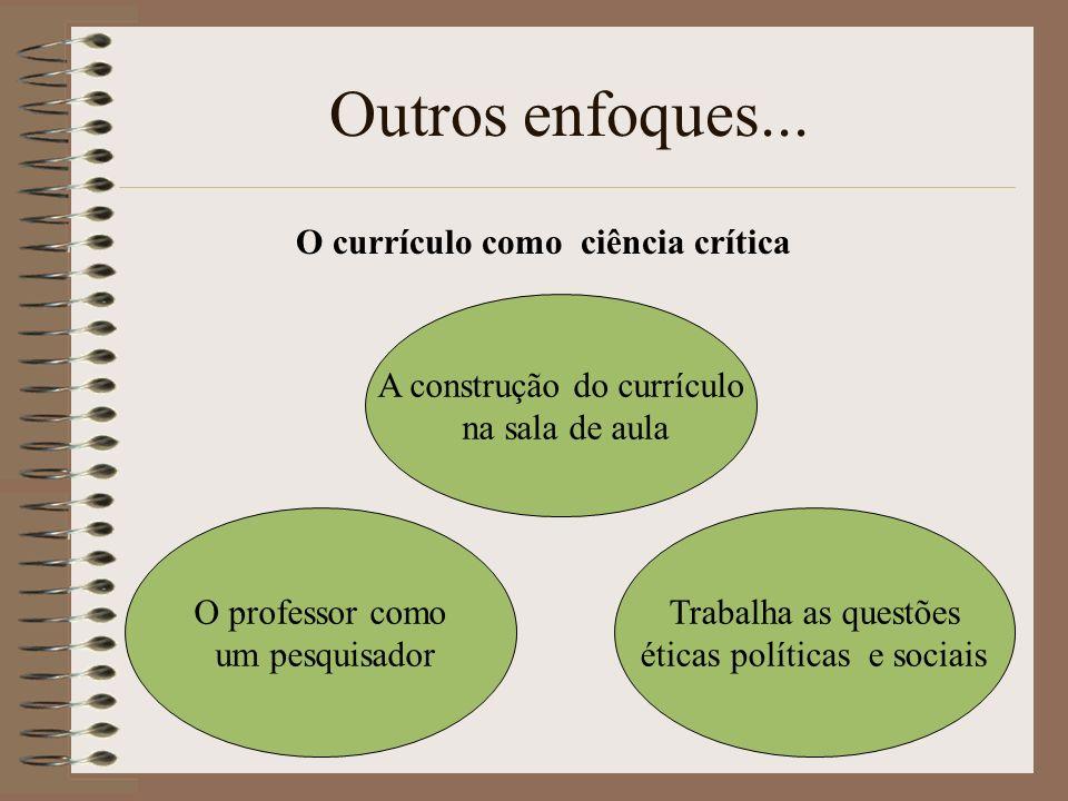 Outros enfoques... A construção do currículo na sala de aula O professor como um pesquisador Trabalha as questões éticas políticas e sociais O currícu