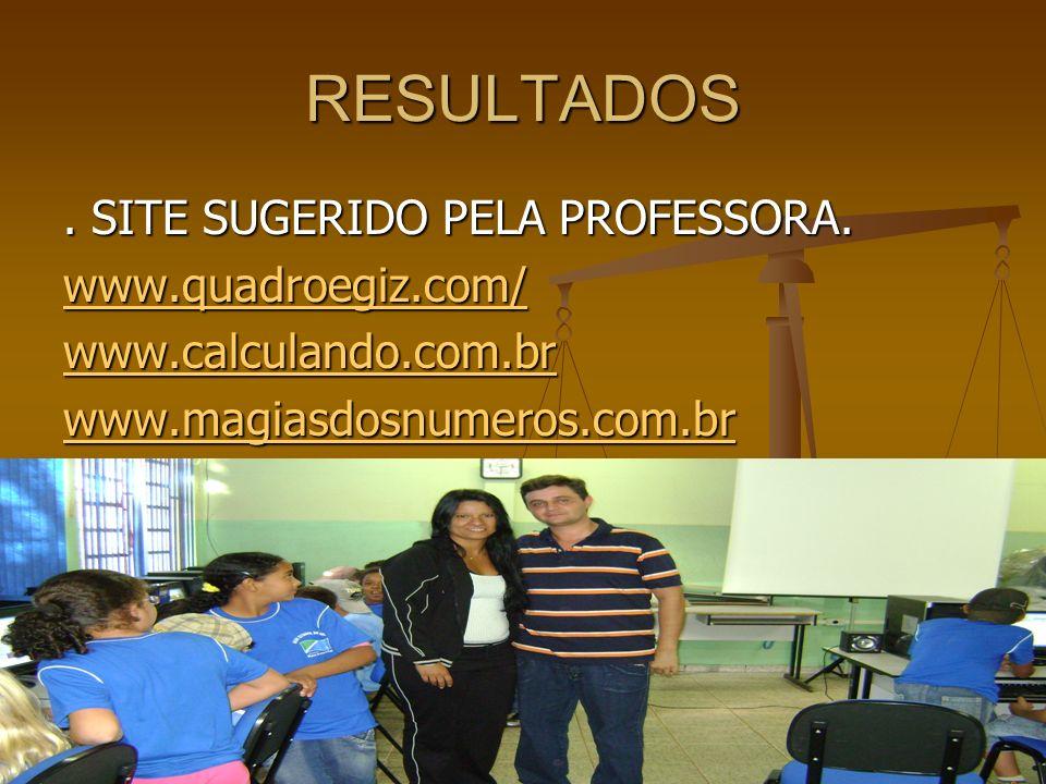 RESULTADOS. SITE SUGERIDO PELA PROFESSORA. www.quadroegiz.com/ www.calculando.com.br www.magiasdosnumeros.com.br