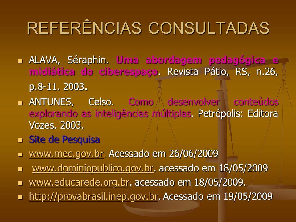 REFERÊNCIAS CONSULTADAS ALAVA, Séraphin. Uma abordagem pedagógica e midiática do ciberespaço. Revista Pátio, RS, n.26, p.8-11. 2003. ALAVA, Séraphin.