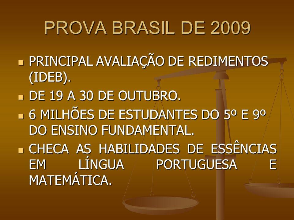 PROVA BRASIL DE 2009 PRINCIPAL AVALIAÇÃO DE REDIMENTOS (IDEB). PRINCIPAL AVALIAÇÃO DE REDIMENTOS (IDEB). DE 19 A 30 DE OUTUBRO. DE 19 A 30 DE OUTUBRO.