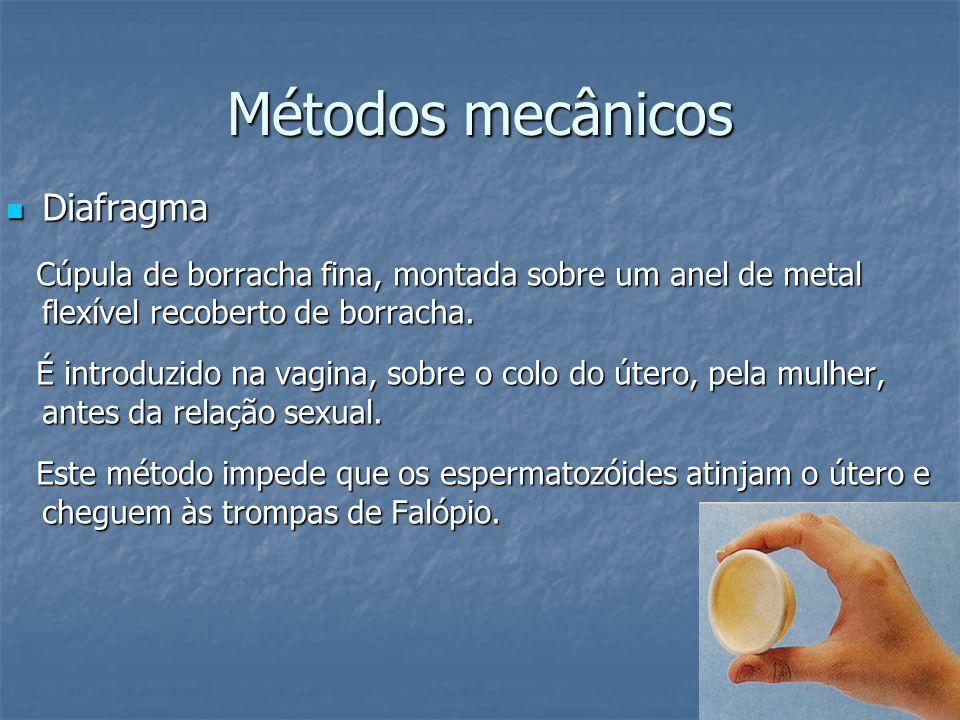Métodos mecânicos Diafragma Diafragma Cúpula de borracha fina, montada sobre um anel de metal flexível recoberto de borracha. Cúpula de borracha fina,