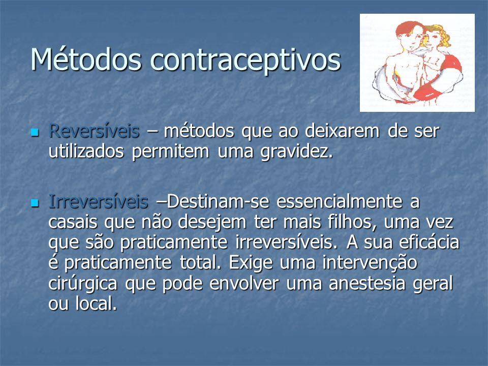 Métodos irreversíveis Laqueação das trompas (esterilização feminina) Laqueação das trompas (esterilização feminina) Operação cirúrgica onde é feito um pequeno corte nas trompas de Falópio para impedir o encontro entre os espermatozóides e o ovócito II.