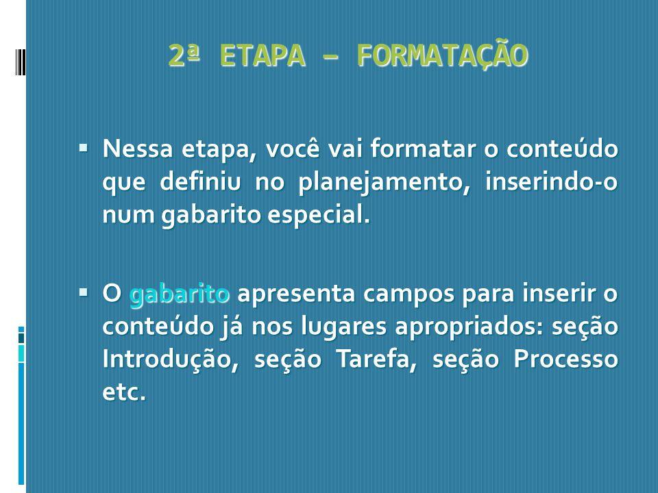 2ª ETAPA – FORMATAÇÃO Nessa etapa, você vai formatar o conteúdo que definiu no planejamento, inserindo-o num gabarito especial. Nessa etapa, você vai