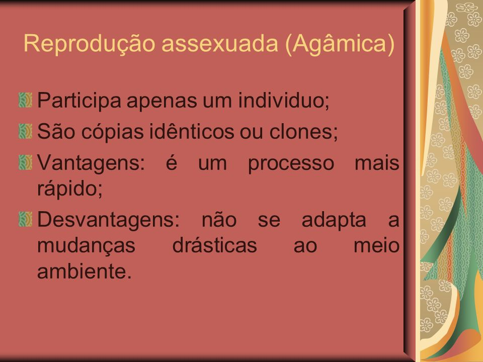 Reprodução assexuada (Agâmica) Participa apenas um individuo; São cópias idênticos ou clones; Vantagens: é um processo mais rápido; Desvantagens: não