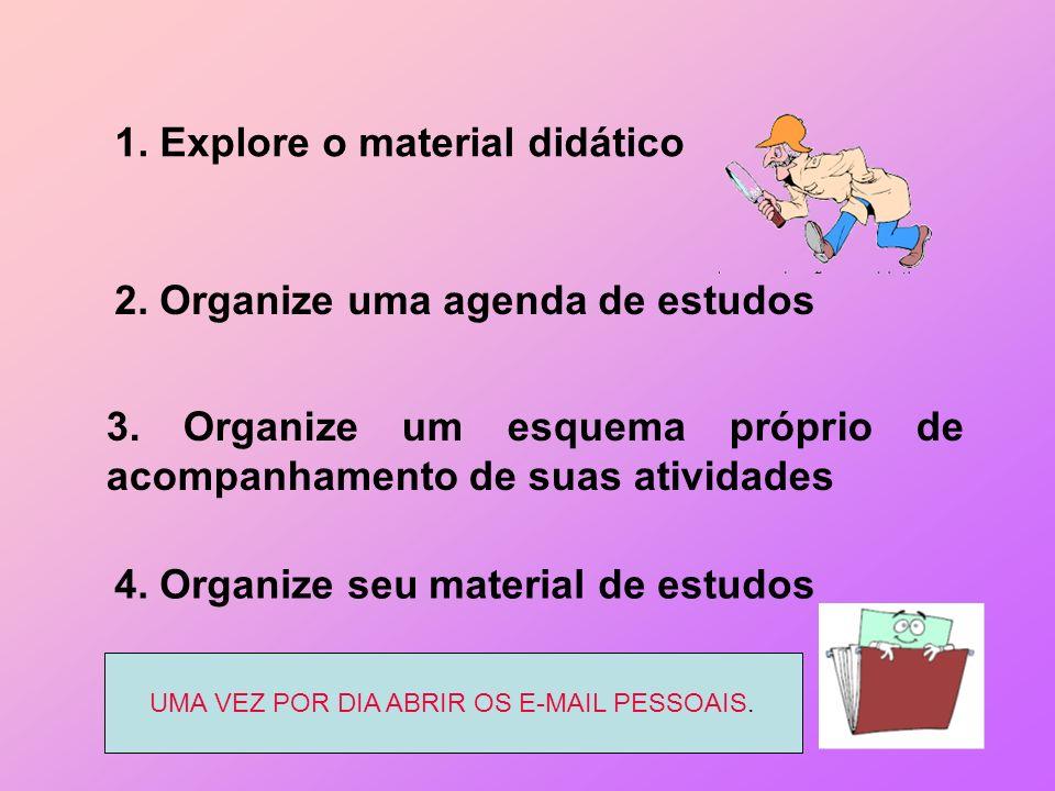 1. Explore o material didático 2. Organize uma agenda de estudos 3. Organize um esquema próprio de acompanhamento de suas atividades 4. Organize seu m